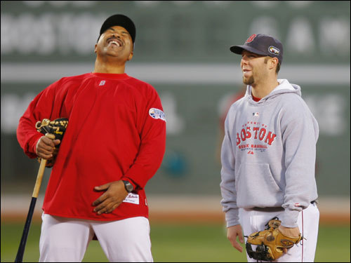 Red Sox third base coach DeMarlo Hale laughed on the field with Dustin Pedroia during warmups.