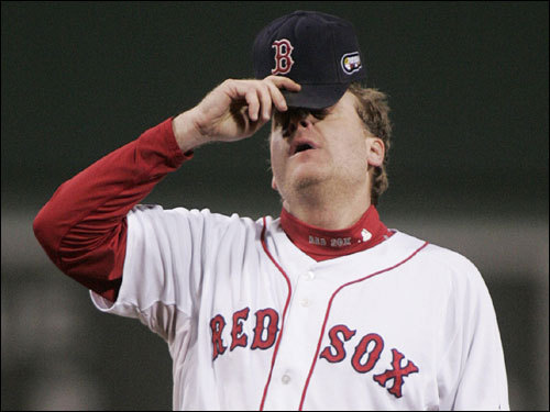 Curt Schilling reacted to giving up a run in the first inning.