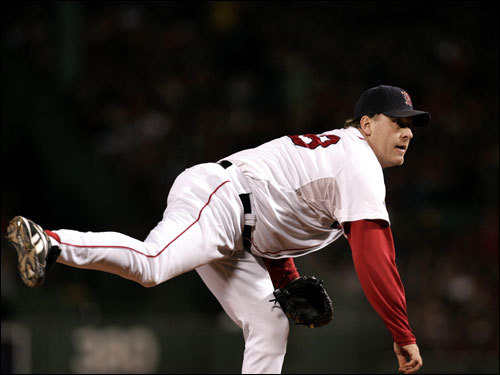 Curt Schilling delivered a pitch in the game.