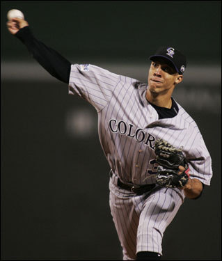 Rockies starter Ubaldo Jimenez delivered a pitch in the first inning.