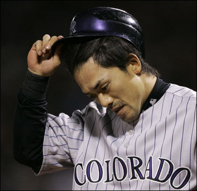 Rockies Kaz Matsui struck out looking to end the third inning.