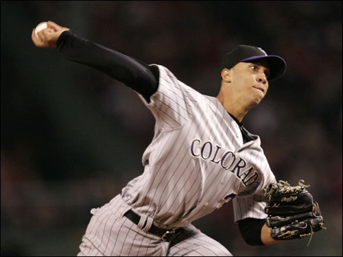 Rockies starter Ubaldo Jimenez delivered a pitch in the game.