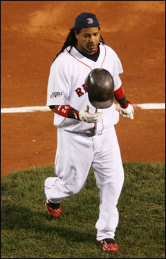 Manny Ramirez reacted to grounding out in the second inning.