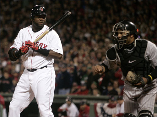 David Ortiz reacted to striking out with two men on and two outs in the third inning.