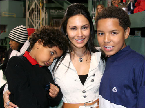 Juliana Ramirez was back at Fenway with four-year-old Manny Jr. (left) and 13-year-old Manuel O'Neil Ramirez. Manuel, nicknamed Torito by his Pembroke Pines, Fla. travel team, is a power-hitting 3B, who has seven homers this season. And yes Theo, he wants to play for the Sox, just like his dad. Manny Jr. is also a ballplayer, who was missing time from his team, the Yellow Jackets, to be with his family watching the World Series.