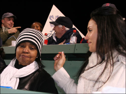 Onelcida Ramirez, (left) mother of Red Sox outfielder Manny Ramirez, took in Game 2 from on top of the Monster with her daughter-in-law, Juliana Ramirez.
