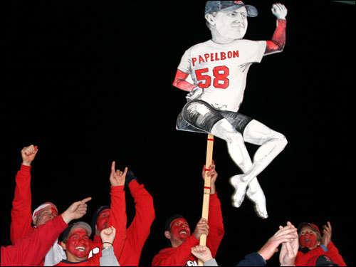 The K-Men broke out The Dancing Papelbon at the top of the center-field bleachers when the real Sox closer came out of the bullpen in the eighth inning ...