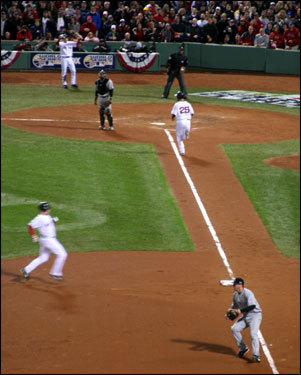 Mike Lowell scored the first Sox run of the game on a sacrifice fly by Sox catcher Jason Varitek in the fourth inning. J.D. Drew went to third base on the play.
