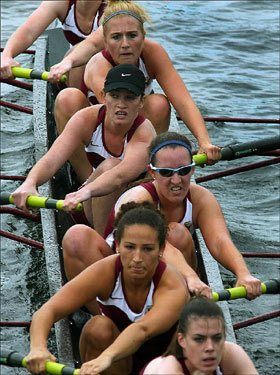 The Boston College women's club eight crew team passed under the River Street Bridge during the 43rd annual Head of the Charles Regatta on the Charles River.