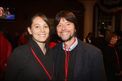 Sarah Burns with her father, documentarian Ken Burns, were at Fenway Park for Game 2.
