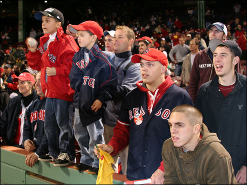 It was standing room only for these young fans who hoped to get a pregame autograph Thursday night at Fenway.