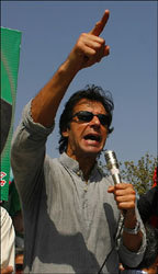 Imran Khan, founder of the Pakistan Justice Party, speaks at an October anti-government rally in Pakistan.