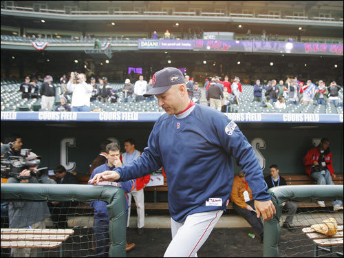 Red Sox manager Terry Francona walked out of the dugout and onto the field.
