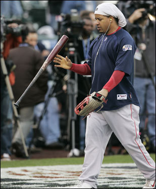 Manny Ramirez walked onto the field.