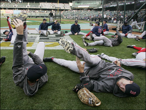 Red Sox players stretched out before the game.