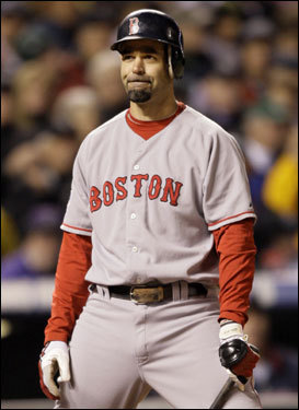 Mike Lowell reacted to a strike call in the first inning. The Red Sox put two on to start the inning, but didn't score a run.