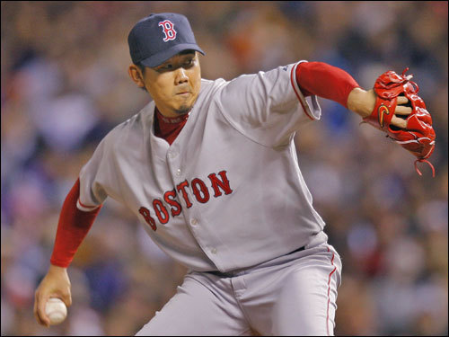 Daisuke Matsuzaka delivered a pitch in the first inning.