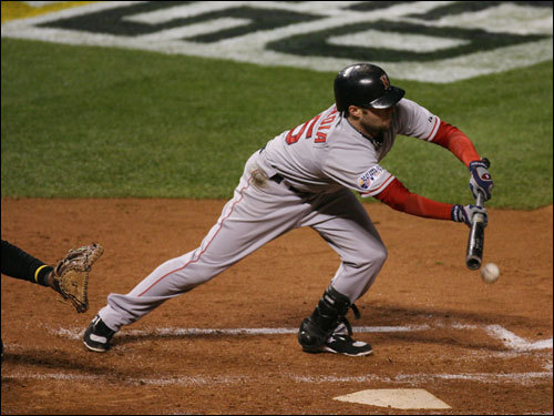 Red Sox second baseman Dustin Pedroia bunted for a single in the third inning.