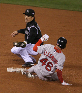 Jacoby Ellsbury slid into second base safely in the third inning.