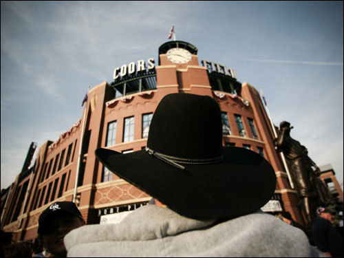 Coloradan David Ronsa wore a cowboy hat outside of Coors Field before heading in for the game.