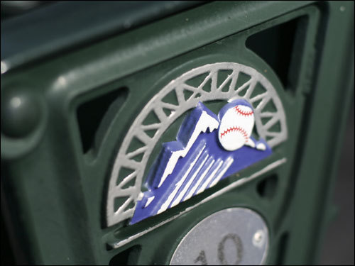 The Rockies logo was on every seat at Coors field.