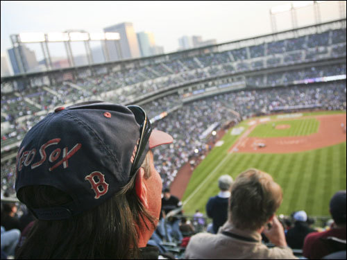 Red Sox fan and Colorado resident Craig Luby took in the view from above the Mile High line.