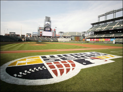 The World Series logo was painted on the field prior to Game 3 of the World Series.
