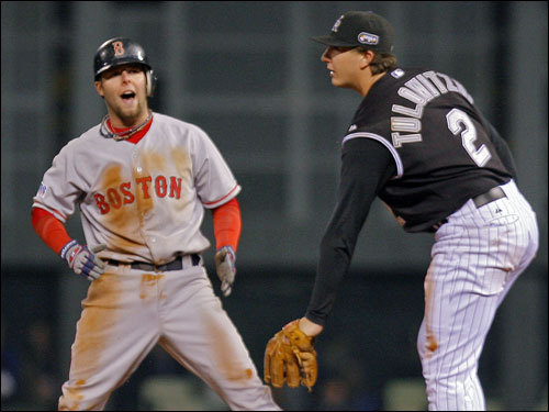 Dustin Pedroia hit a two-run double in the eighth inning to put the Red Sox up 9-5.