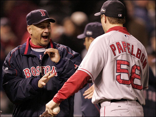 Sox manager Terry Francona (left) and Jonathan Papelbon celebrated the Game 3 win.