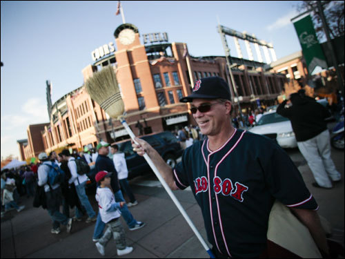 Bob Louis of Hawaii rooted for a Red Sox sweep of the Rockies.