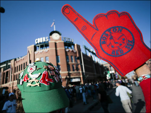 A Red Sox fan headed toward Coors Field for Sunday night's game.