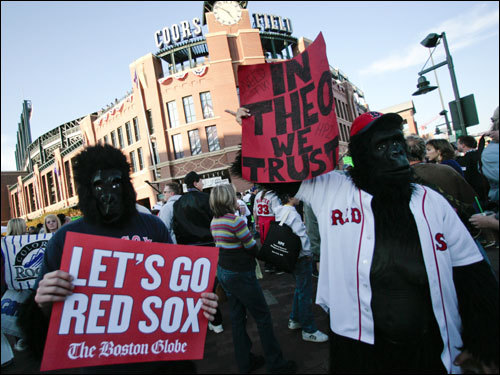 Fans dressed as gorillas (Theo Epstein's 2005 Halloween costume) showed their support outside Coors Field before Game 4.