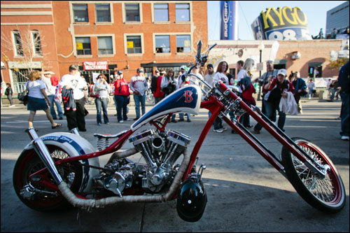A customized Red Sox motorcycle was parked outside Coors Field in Denver before Sunday's Game 4 of the World Series.