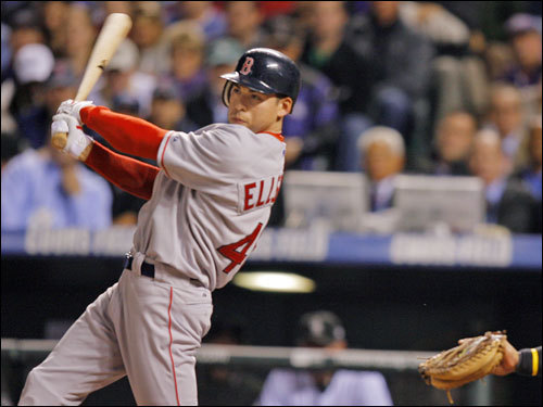 Red Sox leadoff man Jacoby Ellsbury hit a double down the left-field line to start off the first inning.
