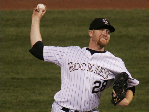 Rockies starter Aaron Cook delivered a pitch in the first inning of Game 4 of the World Series.