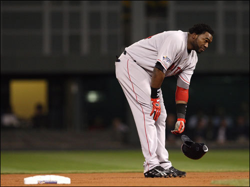 Ortiz reacted to the last out in the first inning.