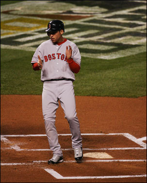 Jacoby Ellsbury crossed the plate with the first Red Sox run in the first inning.