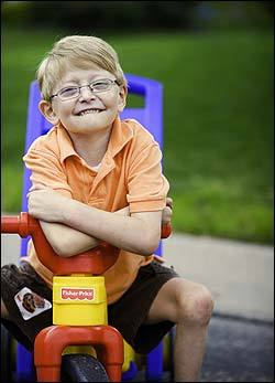 Blake Althaus, 5, has thrived on an experimental treatment.