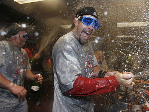 World Series MVP Mike Lowell sprayed champagne during celebrations.