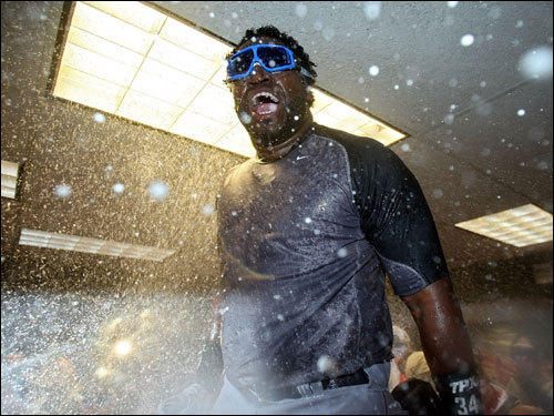 David Ortiz celebrated in the clubhouse.