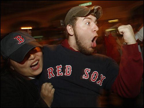 Sox fans celebrate near Fenway Park after the win.