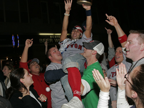 Sox fans gathered on Brookline Avenue after the World Series victory.