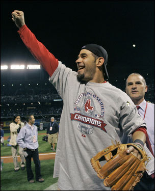 World Series MVP Mike Lowell celebrated on the field.
