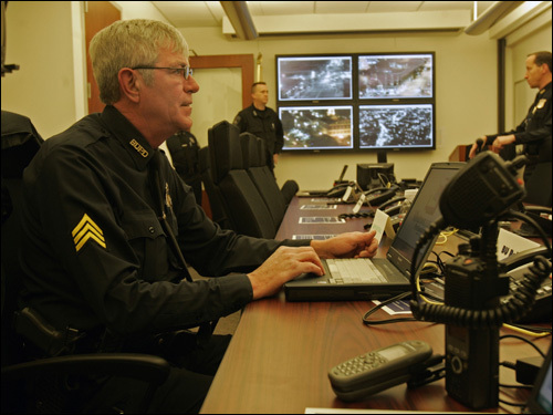 Inside the Unified Command Center at Boston police headquarters, Boston University Sergeant Kevin Bourque kept an eye on various areas throughout Boston via computer monitors.