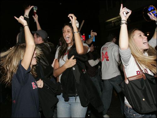 Fans celebrated along Brookline Avenue.