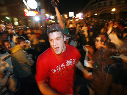 Red Sox fans celebrated in the streets.