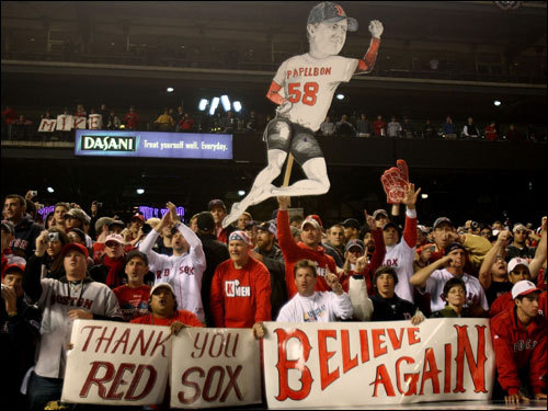 Red Sox fans celebrated at Coors Field after the win.