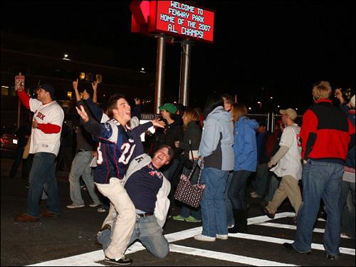 Fans celebrated on Brookline Avenue near Fenway Park.