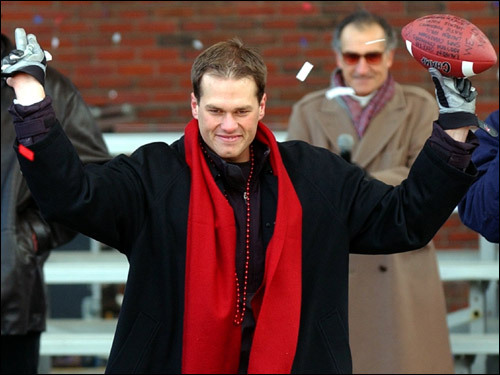 February 5, 2002: Boston fans were plenty eager to celebrate the Patriots' first Super Bowl triumph. Quarterback Tom Brady led the cheers at City Hall Plaza.