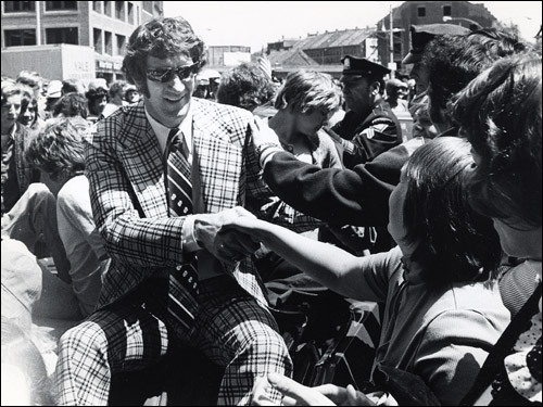 May 14, 1974: The nattily dressed John Havlicek shook hands with fans after the Celtics' 1974 championship win over the Milwaukee Bucks.
